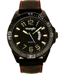 wrangler men's watch, 50mm black case, black bezel, white arabic markers, black sand satin dial with yellow arabic markers, white second hand, crescent cutout for date function, black nylon strap
