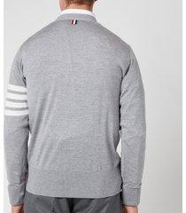 thom browne men's engineered four-bar stripe wool cardigan - light grey - 2/m