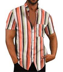 camisa de bolsillo frontal con botones a rayas multicolor de cuello alto informal de verano para hombre