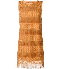 alberta ferretti fringe shift dress - brown