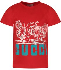 gucci red boy t-shirt with tigers