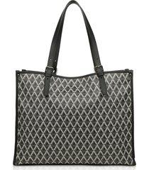lancaster paris designer handbags, xl ikon coated canvas tote bag