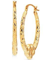 textured flower oval hoop earrings in 14k gold