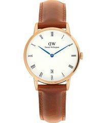 daniel wellington men's dapper durham stainless steel & leather watch