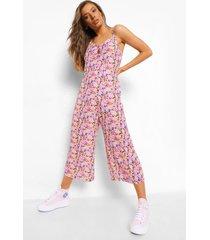 bloemenprint culotte jumpsuit met bandjes, white
