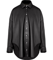 fenty faux leather oversized shirt - black