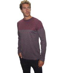 suéter listrado john sailor gola careca mescla vinho/cinza - kanui