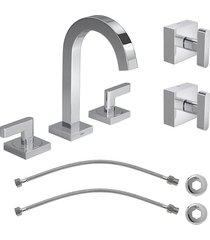 kit misturador para banheiro mesa soul 1877.c38 + 2 flexiveis + acabamento de registro 4900.c38.pq cromado - 1877.c38.kit2 - deca - deca