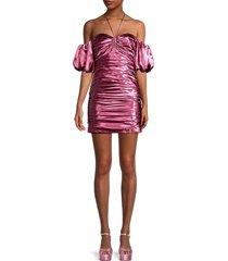 cinq à sept women's tati satin ruched mini dress - pink - size 6