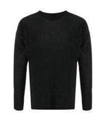 issey miyake blusa mangas longas com pregas - preto