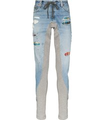 greg lauren 50/50 panelled hybrid jeans - blue