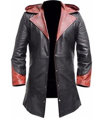men leather coat winter long  leather coat genuine real leather trench coat-uk2