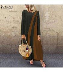 zanzea mujeres más el tamaño de bloque del color del vestido maxi largo de la llamarada del oscilación de la vendimia retro kaftan -gris