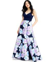 b darlin juniors' floral-print gown