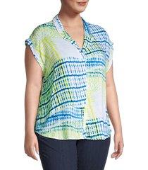 cooper & ella women's plus weekender tie-dye shirt - blue tiedye - size 2x (18-20)