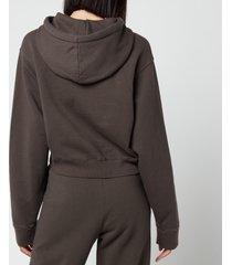 rotate birger christensen women's viola cropped hoodie - raven - l