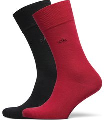 ck men crew 2p casual flat knit cot underwear socks regular socks röd calvin klein
