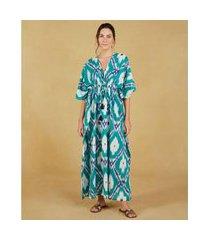 kaftan longo - kaftan nana cor: verde, azul e off white estampado - tamanho: u