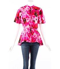 alexander mcqueen endangered flower pink red silk asymmetric shirt red/pink/floral print sz: m