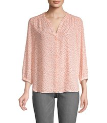 heart print pintuck blouse