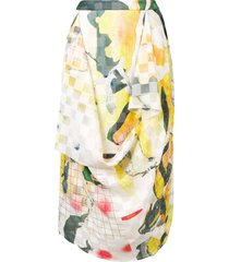 chalayan draped printed skirt - yellow