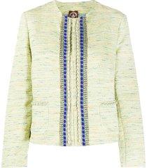 a.n.g.e.l.o. vintage cult 1990s embellished tweed jacket - green