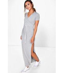 petite wrap front drawstring waist maxi dress, grey marl