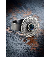 oksydowany pierścionek z minerałem aztec sun