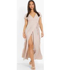 maxi wikkel jurk met laag uitgesneden decolleté en strik, stone