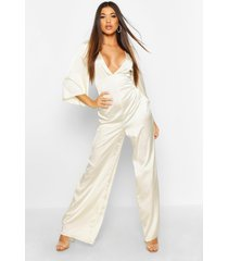 satin ruched wide leg jumpsuit, ivory