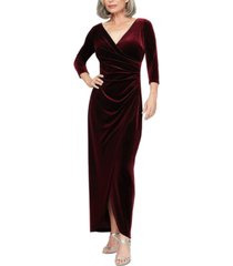 alex evenings petite surplice velvet gown