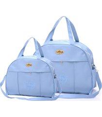 kit espera feliz bolsa bebê maternidade 2 peças dream azul - tricae