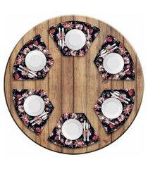jogo americano love decor  para mesa redonda wevans flowers paradise kit com 6 pçs