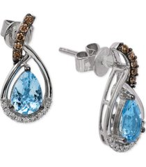 le vian chocolatier sea blue aquamarine (1 ct. t.w.) and diamond (1/6 ct. t.w.) drop earrings in 14k white gold