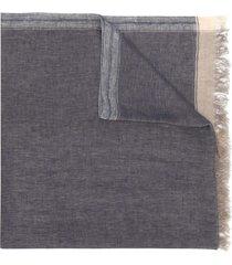brunello cucinelli frayed short scarf - blue