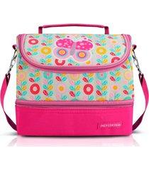 lancheira necessaire tã©rmica jacki design marmita lanches com divisã³rias pink - rosa - menina - dafiti