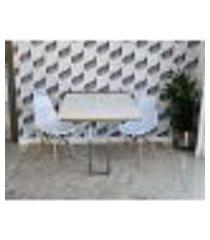 conjunto de mesa dobrável retrátil 1,40 branco/noronha inox + 2 cadeiras eiffel - branca