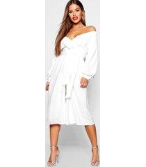 petite bardot wrap culotte jumpsuit, white