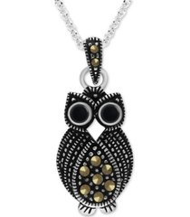 """onyx & marcasite owl 18"""" pendant necklace in fine silver-plate"""