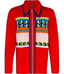 ahluwalia gabbo zip-up cardigan - red