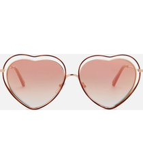 chloé women's nola frame sunglasses - havana/brown peach
