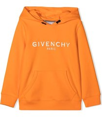 givenchy orange stretch cotton hoodie
