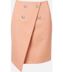balmain women's asymmetric 4 button gdp knee-length skirt - nude - fr 40/uk 12