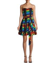 alice + olivia women's webber printed godet cotton dress - rainbow black tie dye - size 10