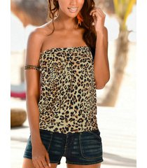 yoins brown leopard backless diseño camiseta de tubo sin mangas