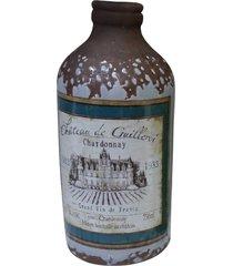 garrafa decorativa de cerâmica cinza kasa ideia 20x8,5cm - tricae