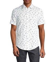 boss hugo boss men's slim-fit printed linen-blend shirt - white multi - size xxxl