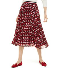 tommy hilfiger printed pleated midi skirt