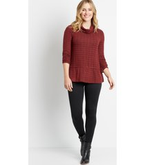 maurices womens berry mock neck tie waist top red