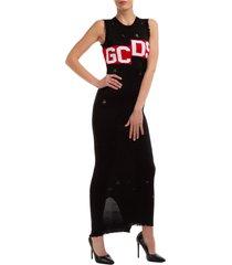 vestito abito donna lungo longuette senza maniche logo